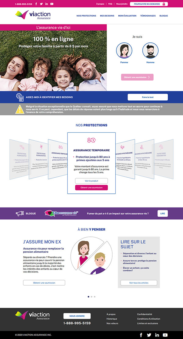 Site Web Viaction-Assurance-Inc 2020 - Progexia Solutions Web
